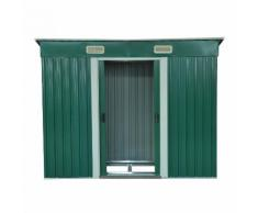 Casetta Box Da Giardino In Lamiera Verde 237x119x181 Cm Miozzi