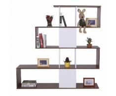 Libreria Di Design Moderna Mobili Ufficio Scaffale Bianco E Noce 144x30x125 Cm Benzoni