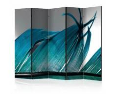 Paravento 5 Pannelli - Turquoise Feather Ii 225x172cm Erroi...