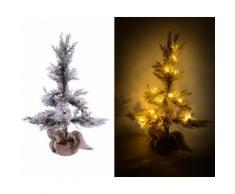 Albero Di Natale Luminoso Con Led E Pigne In Pvc H170cm Adami Juta Verde Innevato