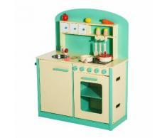 Cucina Giocattolo Per Bambini Con Accessori In Legno Verde 70x30x88 Cm Benzoni