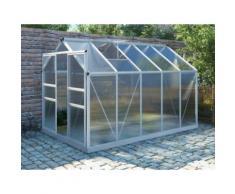 Serra da giardino in policarbonato da 9 m² COROLLE II con base - alluminio