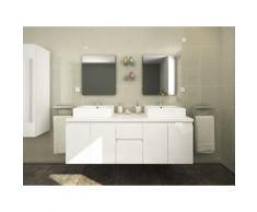 Mobili da bagno LAVITA II sospesi doppio lavabo e specchi - Bianco