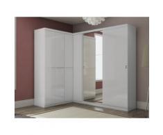Guardaroba angolare OLOF con specchio - 6 ante - Bianco