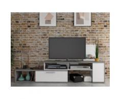 Mobile TV allungabile e modulabile DARYL - 2 ante - Bianco & calcestruzzo