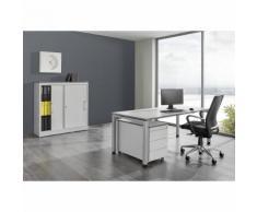 mauser Ufficio completo ARCOS, scrivania, armadio con ante scorrevoli, cassettiera con rotelle con 3 cassetti