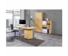 MULTI - Ufficio completo, 1 tavolo, 1 scaffale, 1 cassettiera con rotelle, 1 armadio portadocumenti, con sedia girevole per ufficio nera