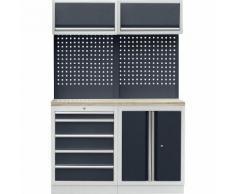 Sistema modulare da officina con armadietto con ante a battente e cassettiera, largh. x prof. 1360 x 460 mm