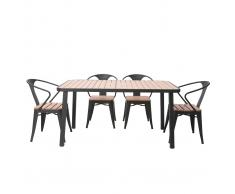 Salotto da giardino con tavolo e 4 sedie in legno e metallo nero BERLINER