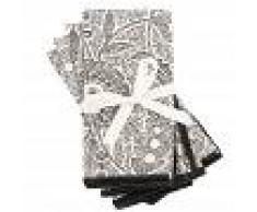 Maisons du Monde Tovaglioli in cotone bianco e nero motivi grig (x4), 40x40 cm