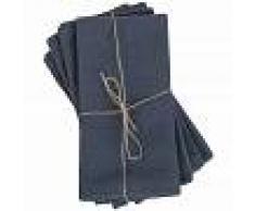 Maisons du Monde 4 tovaglioli in cotone lavato blu, 40x40