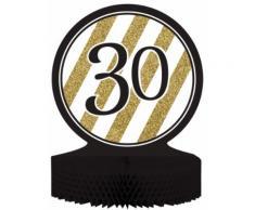 Centro tavola 30 anni nero-oro Taglia Unica
