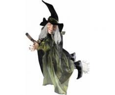 Decorazione Halloween: strega volante con scopa Taglia Unica