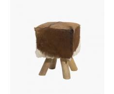 Sgabello poggiapiedi ottomano in legno a motivo muccato DALTON