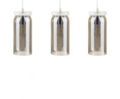 Set di 3 lampade a sospensione in vetro grigio fumé AMAPA