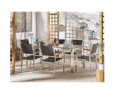 Set tavolo da giardino effetto legno 180 cm e 6 sedie rattan nero GROSSETO