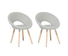 Set di 2 sedie da pranzo in tessuto grigio chiaro ROSLYN