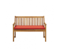 Panca da giardino in legno di acacia con cuscino color terracotta 120 cm VIVARA