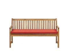 Panca da giardino in legno di acacia con cuscino color terracotta 160 cm VIVARA