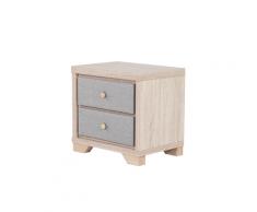 Comodino in legno chiaro/grigio BERCK