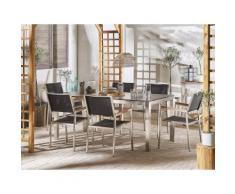 Set tavolo da giardino effetto cemento 180 cm e 6 sedie tessuto nero GROSSETO