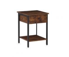 Tavolino quadrato in legno scuro e nero VESTER