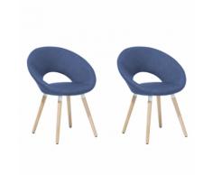 Set di 2 sedie da pranzo in tessuto blu ROSLYN