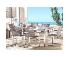 Set tavolo da giardino effetto cemento 180 cm 6 sedie fibre sintetiche grigio GROSSETO