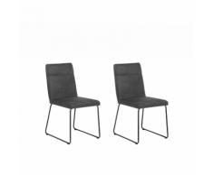 Set da 2 sedie da pranzo in microfibra grigia NEVADA