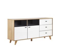 Credenza color legno chiaro e bianco con 3 cassetti e 2 scompartimenti ILION