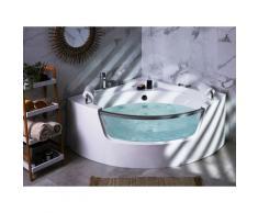 Vasca idromassaggio angolare bianca con LED 150 cm MANGLE