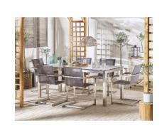 Set tavolo da giardino effetto marmo 180 cm e 6 sedie fibre sintetiche grigio GROSSETO