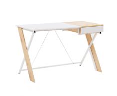Scrivania color legno chiaro / bianco con un cassetto 120 x 60 cm HAMDEN