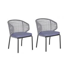 Set di 2 sedie da balcone grigio PALMI