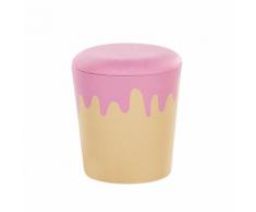 Pouf per bambini con contenitore beige e rosa MOUSSE