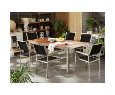 Set da giardino tavolo in eucalipto e 6 sedie in fibra tessile nera GROSSETO