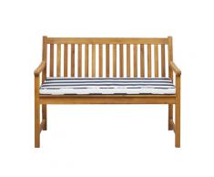 Panca da giardino in legno di acacia con cuscino blu a righe 120 cm VIVARA