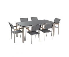 Set di tavolo e 6 sedie da giardino in acciaio, basalto e fibra tessile grigia- piano singolo- Nero lucido - 180cm - GROSSETO