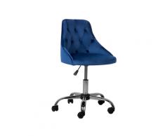 Sedia da scrivania in velluto blu PARRISH