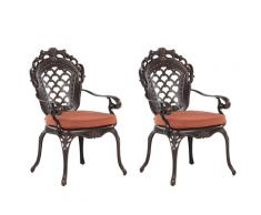 Set di 2 sedie da giardino in alluminio marrone scuro LIZZANO