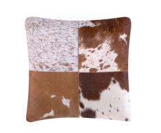 Cuscino decorativo in pelle bovina 45 x 45 cm marrone MARADY