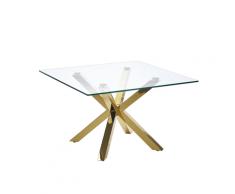 Tavolino da Caffè Basso in Vetro e Oro 70 x 70 cm STARLIGHT