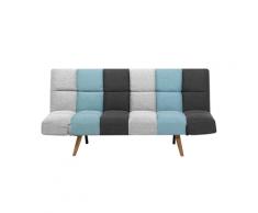Divano letto in tessuto grigio/blu INGARO