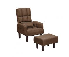 Poltrona reclinabile e poggiapiedi in tessuto marrone OLAND