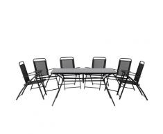 Set da pranzo da giardino in acciaio nero - Tavolo con 6 sedie - LIVO