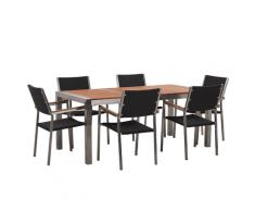 Set da giardino tavolo in eucalipto e 6 sedie in rattan nero GROSSETO