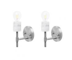Set di 2 lampade da parete in metallo argento ARMERIA
