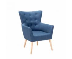 Poltrona blu da soggiorno imbottita in tessuto - ANGEN