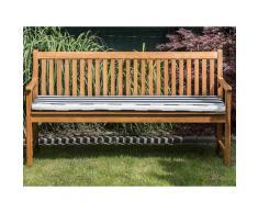Panca da giardino in legno di acacia con cuscino blu a righe 160 cm VIVARA