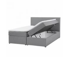Letto boxspring con contenitore in tessuto grigio 160 x 200 cm SENATOR